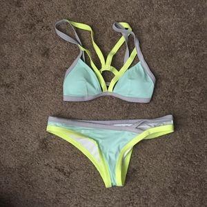 Victoria's Secret Neon Yellow/Mint/Gray Bikini Set